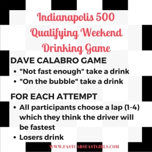 Indy 500 Qualification Drinking Game